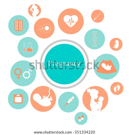 Pregnancy and newborn baby icons set. Childbirth and motherhood. Pregnancy and birth infographics. Medicine and pregnancy vector icons set. Baby care, mother birth illustration. - stock vector