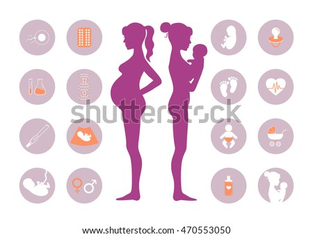Pregnancy and newborn baby icons set. Pregnancy and birth infographics element. Vector illustration of pregnant female silhouettes. Baby care, mother birth illustration.