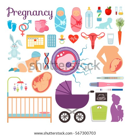 Pregnancy, birth and newborn baby vector icons. Pregnant woman silhouette and small child vector illustration. Concept newborn and birth baby illustration