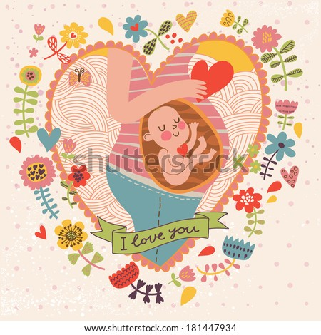 Pregnancy concept card in cartoon style. Baby and mother in love inside hearts and flowers - stock vector