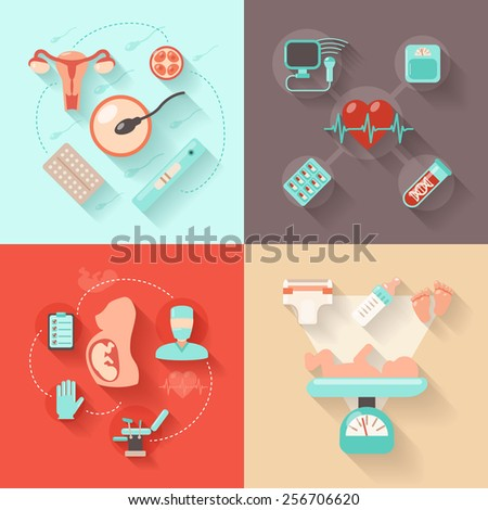 Pregnancy design concept set with woman anatomy delivery and maternity flat icons isolated vector illustration - stock vector