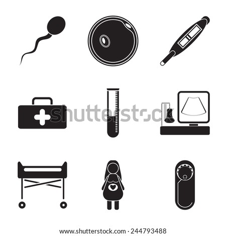 Pregnancy flat icon set isolated on white background. - stock vector