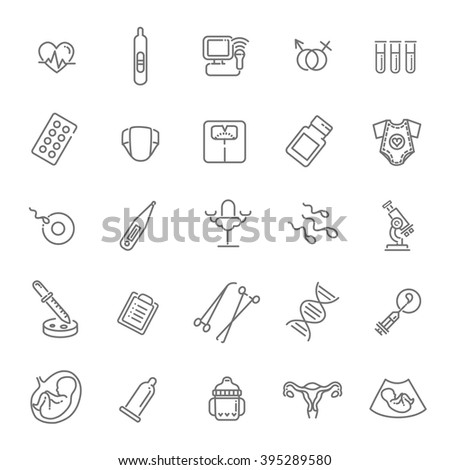 Pregnancy, gynecology, childbirth and motherhood line icons set - stock vector