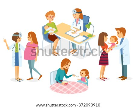 Pregnancy, health care, doctor appointment - stock vector