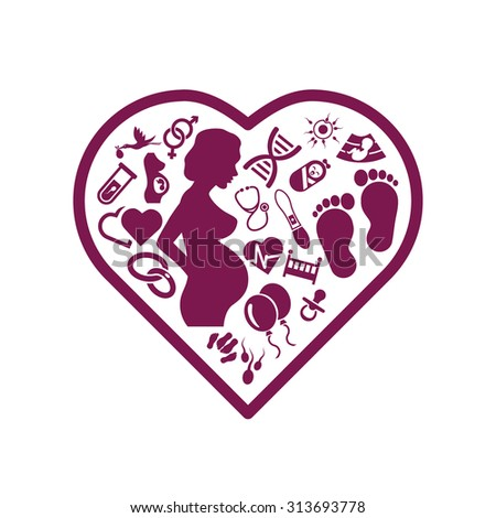 pregnancy icons in heart - stock vector
