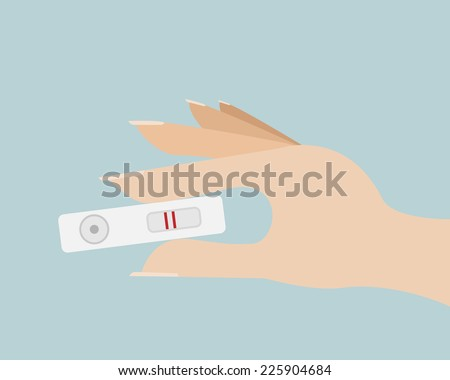 Pregnancy Test with Positive  in Woman Hand Vector - stock vector