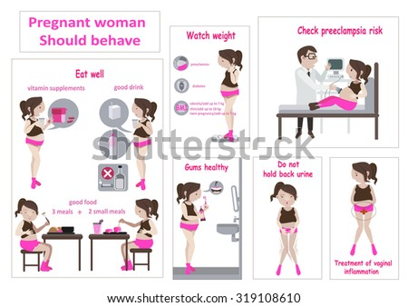 Pregnancy woman infographic. Vector illustration