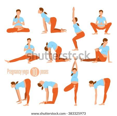 pregnancy yoga yoga pregnant women yoga stock vector