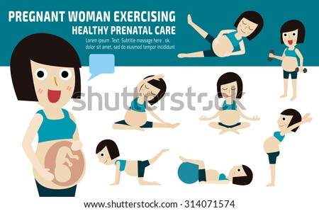 pregnant exercise. set of full body mom relax with pilates. wellness  concept mother cartoon character. vector flat modern icons design. brochure illustration. isolated on white and blue background. - stock vector