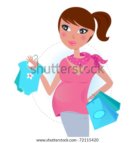 Pregnant mom on shopping for baby boy. Vector Illustration.