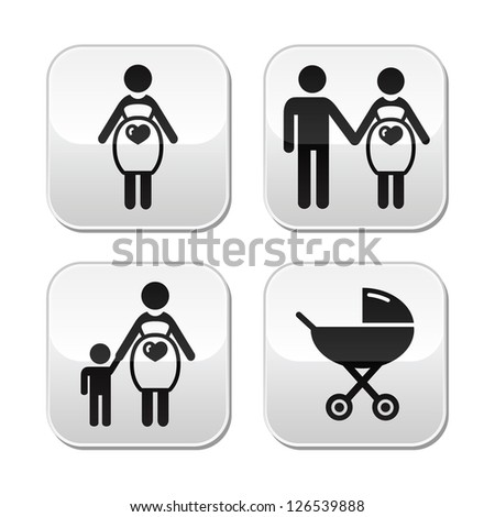Pregnant woman buttons set - stock vector