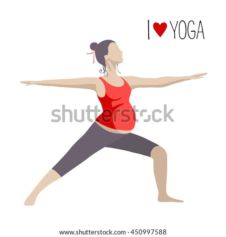 Pregnant woman doing exercise. Yoga positions in Warrior or Virabhadrasana Pose. Vector illustration