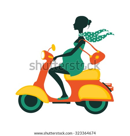 Pregnant woman driving scooter. Illustration in vector format
