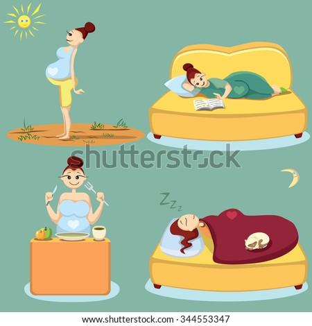 Pregnant woman health. Pregnant woman health. Pregnant walking, rest, eating, sleeping.