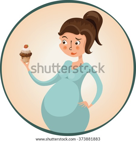 Pregnant woman holding cupcake, doubting, vector illustration, cartoon