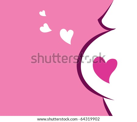 Pregnant woman icon with heart (pink). Vector Illustration. - stock vector