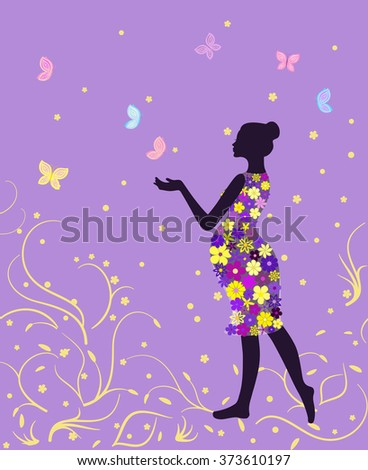 Pregnant woman in floral dress with butterflies on lavender background