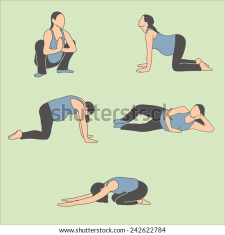Pregnant Woman in the Expecting Stages of Birth Stretching with Breathing, Exercise and Yoga Methods. Doing Stretches and Light Weight Aerobics or Exercise Methods Help You Have Strong and Nice Baby. - stock vector