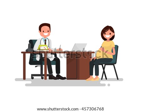 Pregnant woman on reception at the doctor. Vector illustration of a flat design