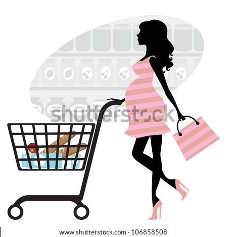 Pregnant woman shopping in supermarket - stock vector