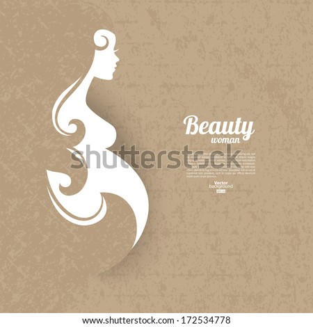 Pregnant woman silhouette with vintage cardboard texture - stock vector