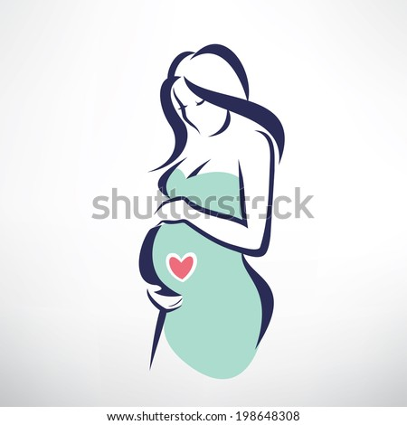 pregnant woman symbol, stylized vector sketch - stock vector