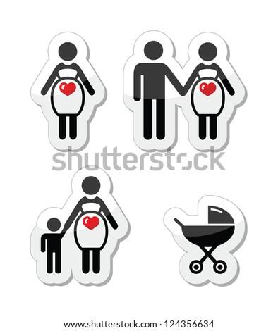 Pregnant woman vector icons set -Motherhood, pregnancy, family, single parenting concept - stock vector