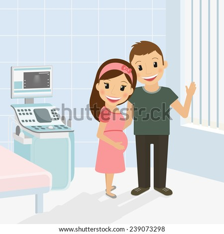 Pregnant woman with husband in hospital after ultrasound examination - stock vector