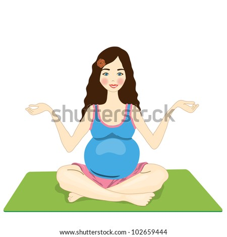 pregnant woman yoga. isolated on a white background. vector