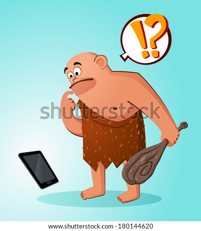 prehistoric age of caveman surprised to find a hi-tech gadget - stock vector