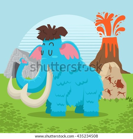 prehistoric and stone age mammoth vector cute collection