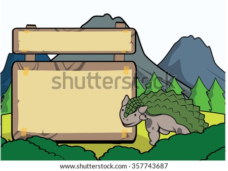 Prehistoric animal scene with blank space