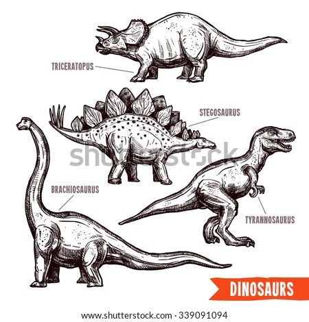 Prehistoric dinosaurs 4 diverse jurassic reptiles animals hand drawn pictograms collection black doodle abstract isolated vector illustration - stock vector