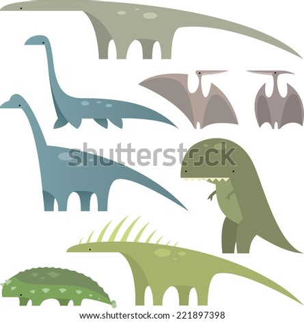 Prehistoric era Jurassic dinosaurs set 1, with eight different dinosaurs in different sizes and shapes vector illustration.
