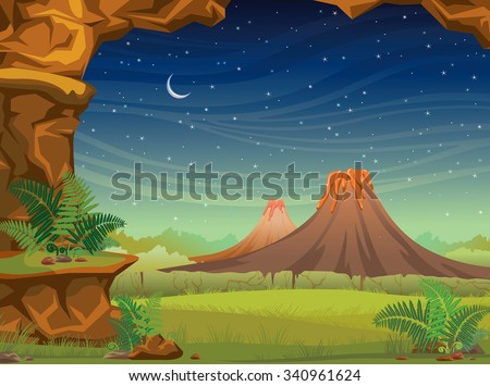 Prehistoric illustration with volcanoes, green grass and wall of rock on a starry sky with moon. Nature night vector landscape. - stock vector