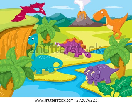 Prehistoric Landscape with Dinosaurs