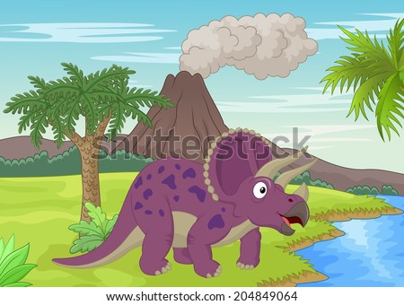 Prehistoric scene with triceratops cartoon - stock vector