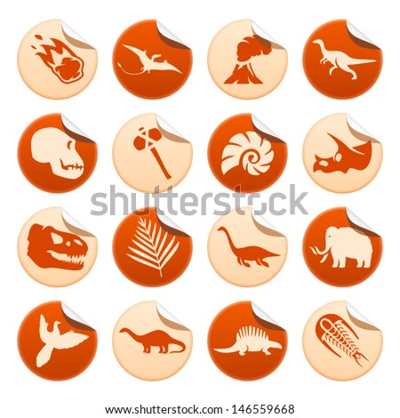 Prehistoric stickers - stock vector