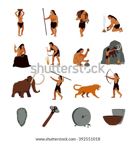 Prehistoric stone age icons set presenting life of cavemen and their primitive tools flat isolated vector illustration - stock vector