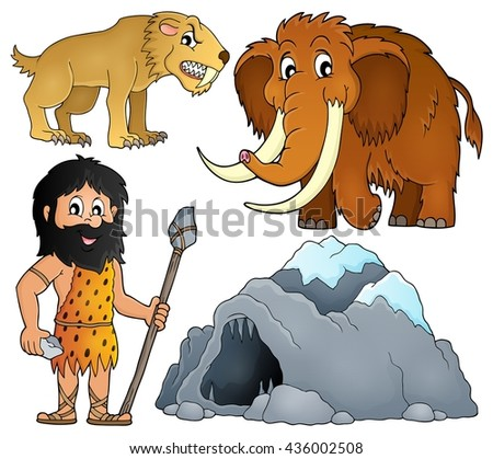 Prehistoric theme set 2 - eps10 vector illustration. - stock vector