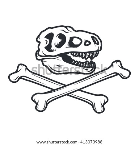 Prehistory dino Logo concept. T-rex insignia design. Jurassic dinosaur illustration. T-shirt concept on white background. - stock vector