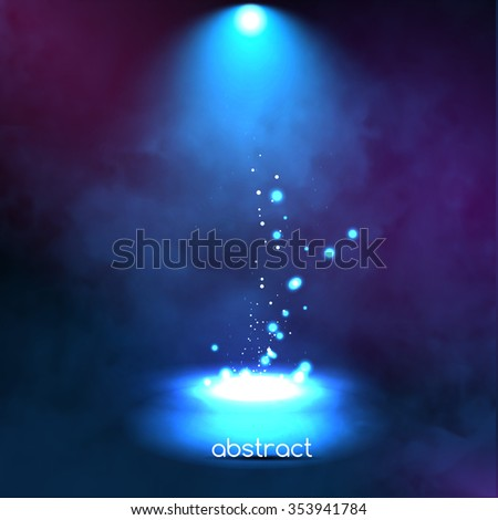 Premiere Blue Show background sparkles. Smoky vector stage shining with rays spotlight on glowing particles - stock vector