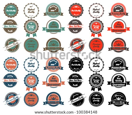 Premium and High Quality Labels with vintage design. Four different colour set. - stock vector