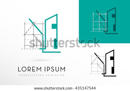 PREMIUM, ARCHITECTURE, VECTOR ICON / LOGO DESIGN IN COLOR VARIATIONS - stock vector