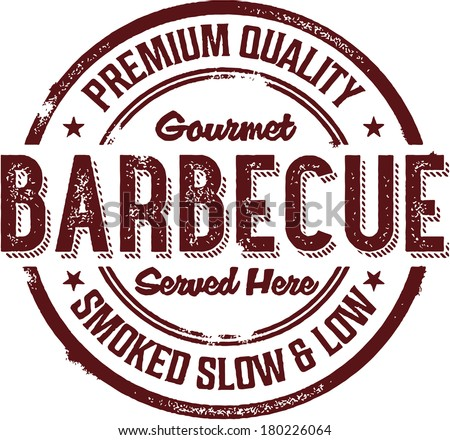 Premium BBQ Barbecue Menu Stamp - stock vector