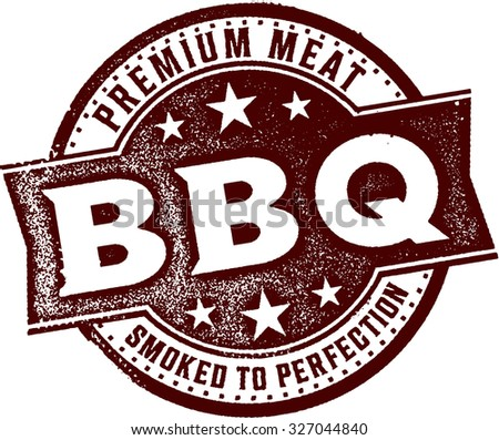 Premium BBQ Vintage Meat Stamp - stock vector