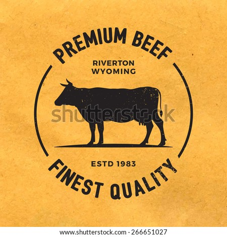 premium beef label with grunge texture on old paper background