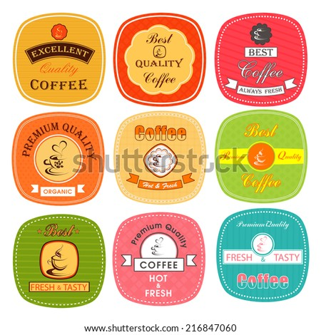 Premium & best quality coffee retro tag, label, badge and sticker set in different colors.  - stock vector