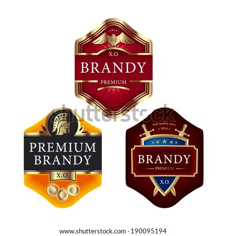 Premium brandy labels with swords eagle roman helmet and shield - stock vector