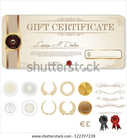 Premium Certificate Template and Ornaments - stock vector
